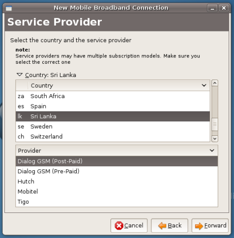 Country and Service Provider